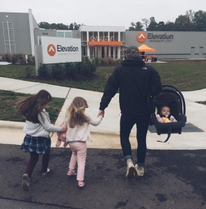 Jared and girls going to church